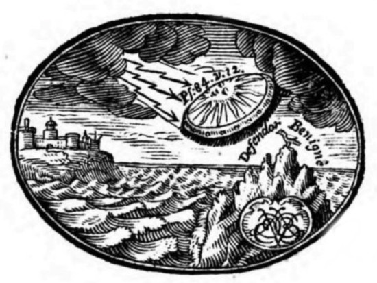 From Chris Murphy 01634 686 515 Is this centuries old book the final conclusive proof that UFOs once visited Earth. The book cover illustration is claimed to clearly show this really is the case. The tome has only just been discovered again, on Google Books, of all places. Writer Reid Moore believes this book printed in 1716 clearly shows what looks to be the modern depiction of a flying saucer UFO on its cover page. Writing on the culture website, niume, he says: The book, a treatise on Mathematics, shows a woodcut illustration on the cover page with a saucer shaped aircraft flying out of a storm cloud, trailed by lightning bolts. The work, written in Latin and authored by Johann Caspar Funck, a renowned mathematician of his day, was published in 1716. A copy of the tome is digitally stored on Google Books, which allows a review of select pages, one of which is this cover page, adorned with the illustration. The footer of the page shows the year 1716 written in Roman Numerals. Why the illustration depicts what is generally considered to be a classic UFO shape bears more scholarly investigation. But it does support the theory that UFOs have been witnessed and chronicled throughout history. What is unusual in this case is the similarity to the modern consensus of what unidentified flying objects look like. Most specifically, it is the aerodynamically rounded shape of the craft, with the dramatic effect of the UFO appearing from behind storm clouds and somehow propelled by an electrical phenomenon, most likely a magnetic propulsion system of some kind. He goes on to say: While strange flying machines have been depicted in art for centuries, this specific incarnation of what is generally agreed to be considered a classic UFO shape is unusual, considering the 300 year old date. Is it proof that flying saucer UFOs have been visiting Earth since the early 1700s? At the very least, it's evidence that some people in the past seem to have thought so. End