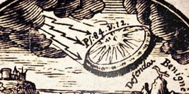 В книга от 1716 г. е показан  НЛО, с който Бог  слиза на Земята