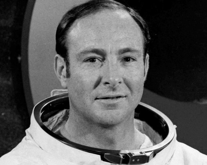"""This undated NASA image obtained February 5, 2016 shows Apollo Astronaut Edgar D. Mitchell, posing in front of a graphic of the Apollo 13 mission patch. US astronaut Edgar Mitchell, one of just 12 people to have walked on the Moon, has died aged 85 on February 4, 2016, his family and NASA said Friday, calling him a """"pioneer.""""NASA paid glowing tribute to Mitchell, who died in Florida after a brief illness late Thursday, the eve of the 45th anniversary of his lunar landing. / AFP / nasa / NASA / == RESTRICTED TO EDITORIAL USE / MANDATORY CREDIT: """"AFP PHOTO / HANDOUT / NASA """"/ NO MARKETING / NO ADVERTISING CAMPAIGNS / DISTRIBUTED AS A SERVICE TO CLIENTS == NASA/AFP/Getty Images"""