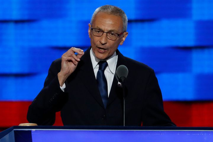 """FILE - In this July 25, 2016, file photo, John Podesta, Clinton Campaign Chairman, speaks during the first day of the Democratic National Convention in Philadelphia. Podesta, a top adviser to Hillary Clinton, on Tuesday, Oct. 11, accused Roger Stone, a longtime Donald Trump aide, of receiving """"advance warning"""" about WikiLeaks' plans to publish thousands of hacked emails and suggested the Republican candidate is aiding the unprecedented Russian interference in American politics. (AP Photo/J. Scott Applewhite, File)"""